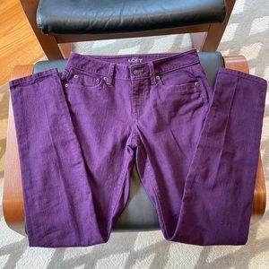 Purple LOFT Curvy Skinny Jeans Size 2